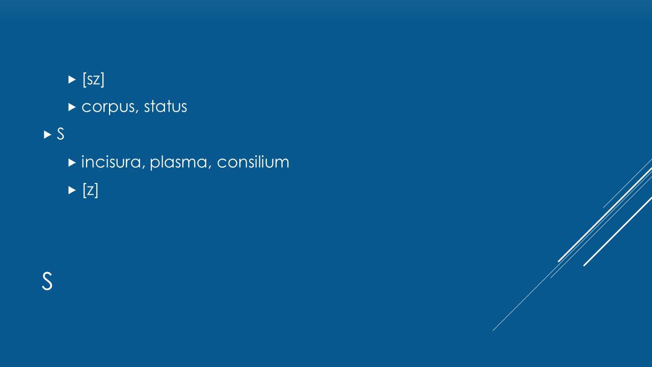 [sz] corpus, status S incisura, plasma, consilium [z] s
